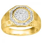 Yellow Hammered Finish Men's Promise Ring