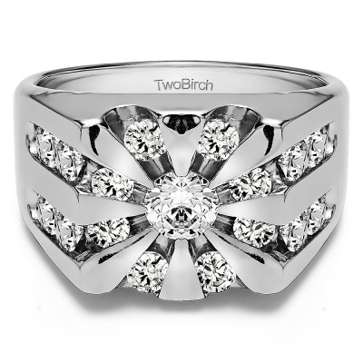 0.5 Ct. Round Channel Set Sun Burst Style Men's Ring