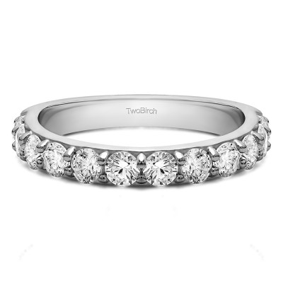 0.24 Carat Twelve Stone Round Pave Set Wedding Band